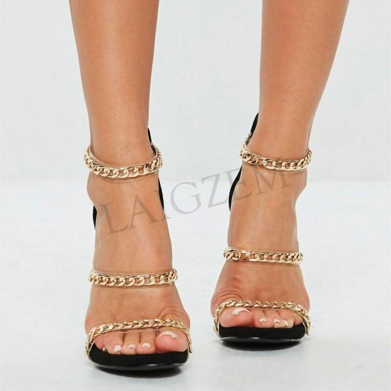 LAIGZEM Trendy Women Sandals Metal Chain Clear Straps Party Heels Sandalias Mujer Chaussure Sapato Feminino Big Size 34 52 - 2