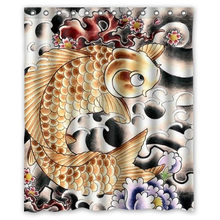Japanese Fancy Carp&Koi Fish Background Waterproof Shower Curtain/Bath(China)