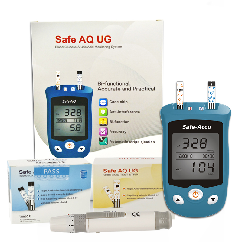 Sannuo UG Uric acid monitoring and blood glucose system 2 in1 Multi-Function Monitoring System Diabetes Gout Device with Strips