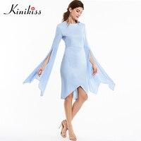 Kinikiss Women Summer Dress Sky Blue Round Neck Full Flare Sleeve Elegant Asymmetrical Knee Length Sexy