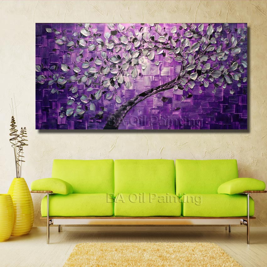 Free Shipping Big Size Wall Art Tree Oil Painting On Canvas For Home Decor Ideas Paints Pictures Unframed HF0014 In Calligraphy From