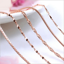 RE 45cm DIY women #8217 s chain Necklaces Friendly Copper Wave Snake Box Chains Jewelry Beads for Pendant Accessories rose Gold Color cheap Recordar Espacio Chains Necklaces Classic Link Chain Metal geometric All Compatible Mood Tracker None LZ-825 women s chain