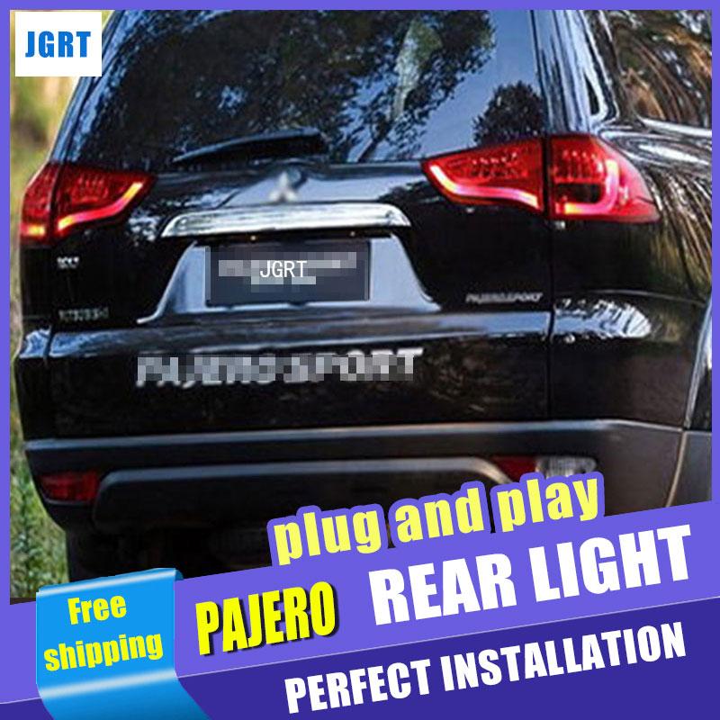 Car Styling for Mitsubishi Pajero Taillight assembly 2013 Pajero Sport LED Tail Light Rear Lamp DRL+Brake with hid kit 2pcs. free shipping 2pcs lot h11h8h1h79006 fog light bulb for mitsubishi pajero pinin 00 05 pajero sport 98 06 space wagon 99 04