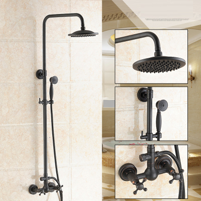 Dofaso 20cm head antique brass shower faucet big rain shower set black retro bathroom faucet with
