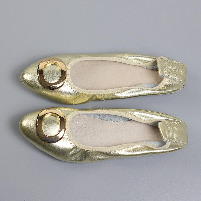 Élégante Pointu Femmes Gray red Chaussures silver Taille Ballet En Bouche Plat Or Argent Talons Cuir Véritable Profonde gold Bout Mode Couleur Mères Grande Peu black nON0wmv8yP