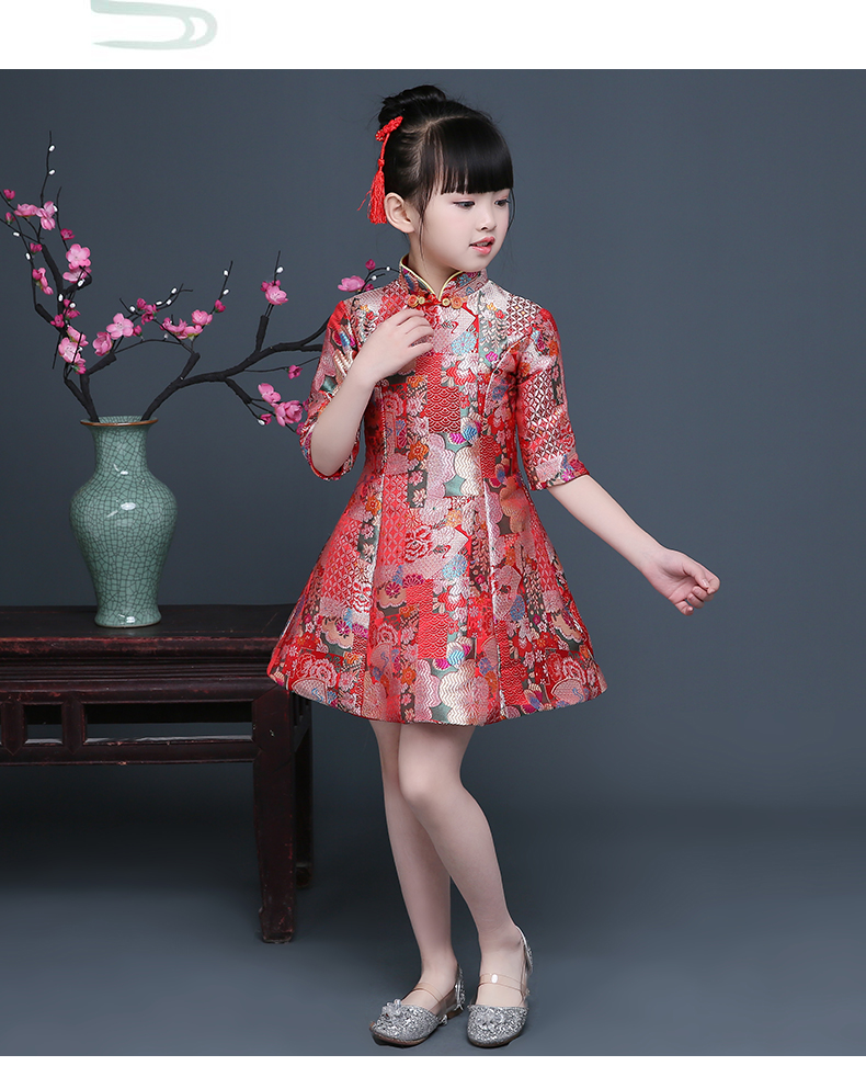 Girls Cheongsam 2018 New Middle-sleeved Cheongsam Children's Dress Costume Princess Dress Chinese Style Improved Cheongsam the new spring clothes embroidered cheongsam retro dress long sleeved dress
