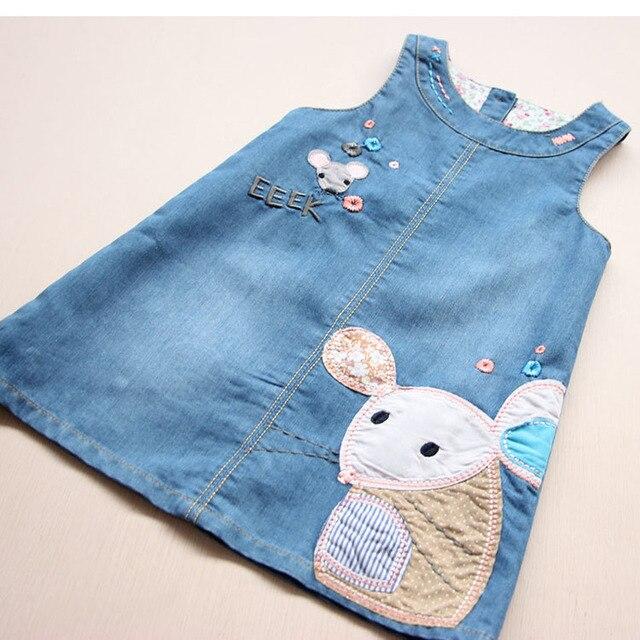 VIDMID New Fashion  Summer Girls Dress Cute Denim Cartoon Printed Children Clothes High Quality Jeans Kids Dresses 6003 01
