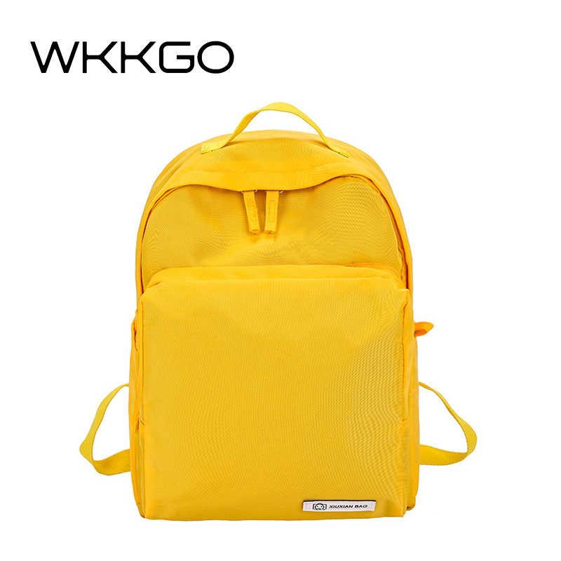 5ee29e0a01d2 WKKGO Новый Повседневный желтый женский рюкзак путешествия шоппинг плечо  рюкзак функциональный пакет Джокер школьные рюкзаки для