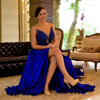 Sexy V Neck Backless Long Evening Prom Gown Elegant High Split Royal Blue Lace Wedding Party Dress Robe De Soiree