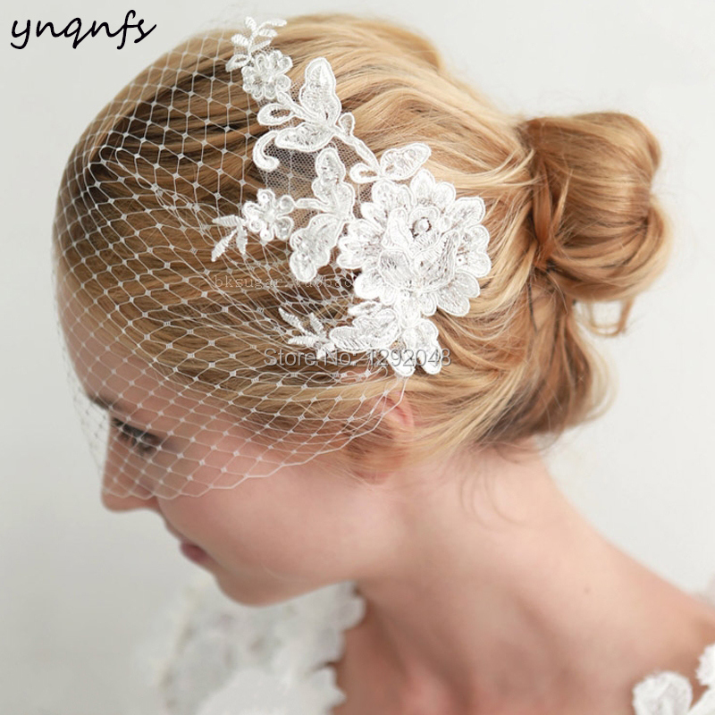 YNQNFS V20 Real Lace Appliques Pearls Vintage Birdcage Veil Blusher Veil Simple Wedding Veils 2019