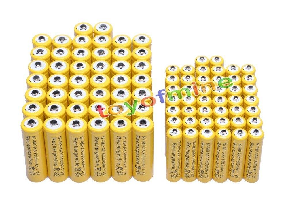 44x AA 3000 mAh + 44x AAA 1800 mAh 1.2 V NiMH pile Rechargeable jaune 2A 3A