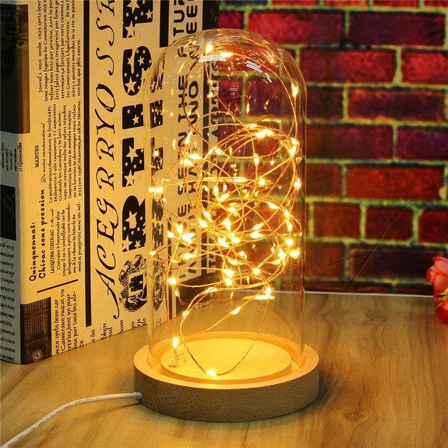Lámpara de Mesa Lámpara USB Powered Wire LED Hadas Luz de la Secuencia Luz de la noche Base De Madera Dormitorio Habitación La Decoración Del Hogar Regalo de Los Cabritos 220 V