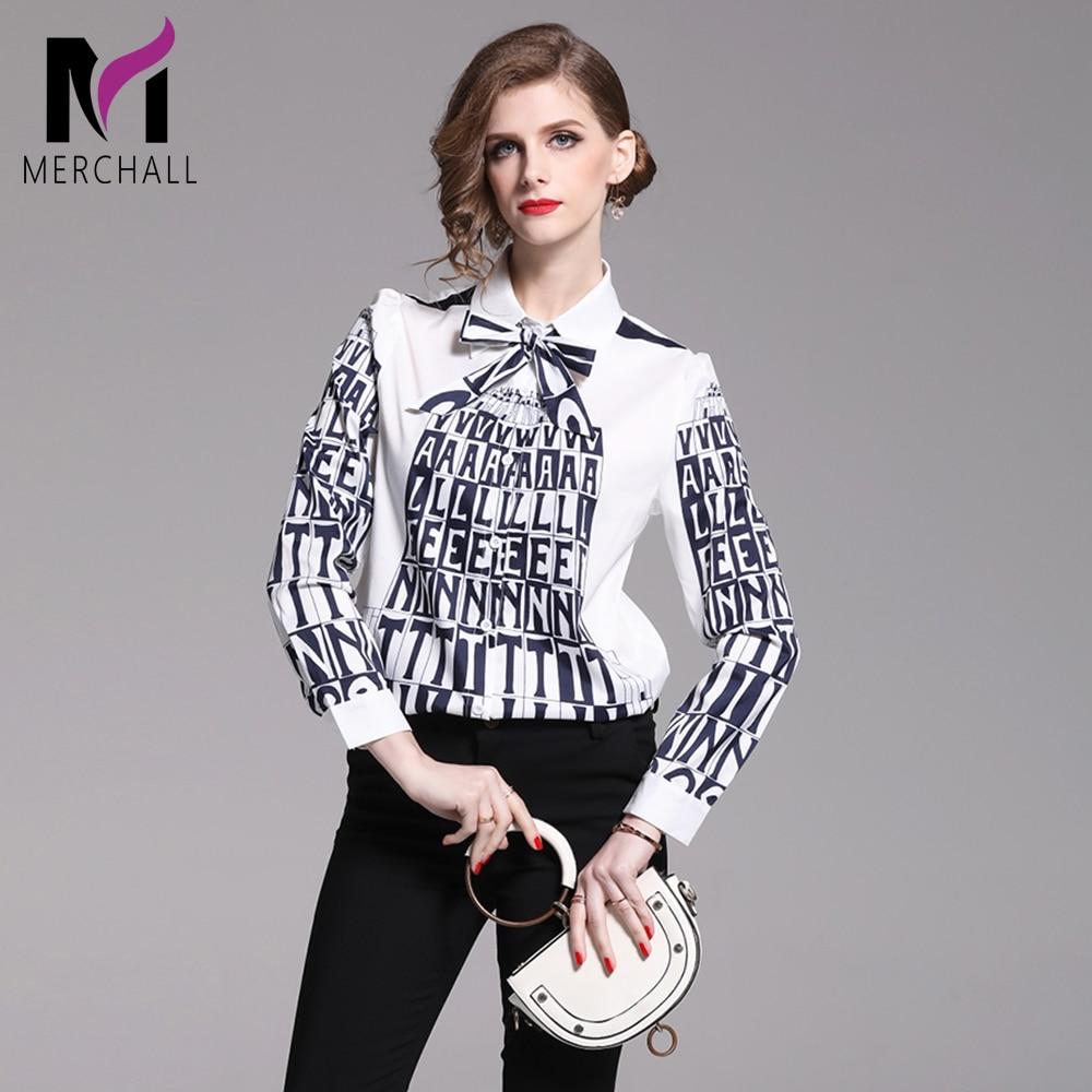 Merchall High Quality Runway Blouse Women Designer Turn Down Collar Shirts Elegant Tie Letter Print Blouse Office Ladies Tops