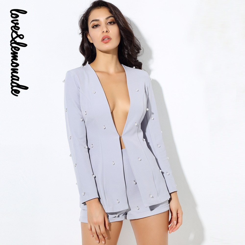 Love Lemonade Sexy Gray V-Neck Nail Two-Pieces Sets