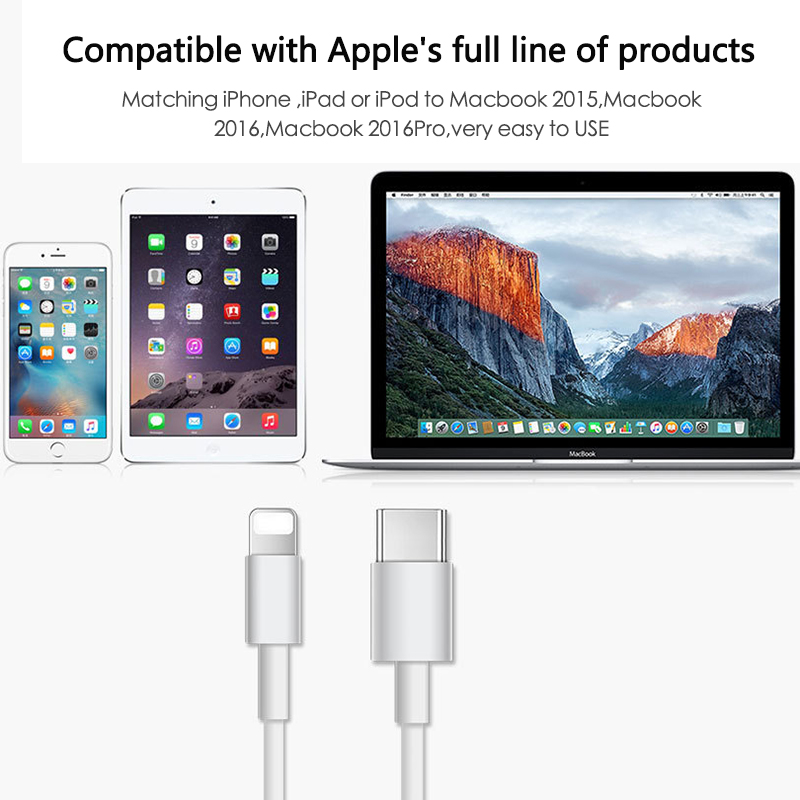 USB-C TYPE C 3.1 Male To For Lightning 8 PIN Data Charge Cable Data Transmission Fast Charging For IPhone IPad IPod MacBook IMac