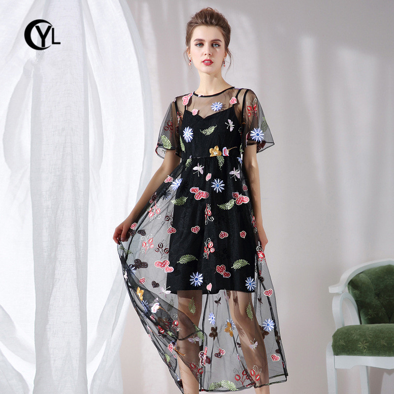 Detail Feedback Questions about OUYALIN L XXXL 4XL 5XL Plus size Summer  Dress 2018 Women short sleeve Mesh Chic Floral embroidery Black Tulle Party  Long ... 8a462b09d878