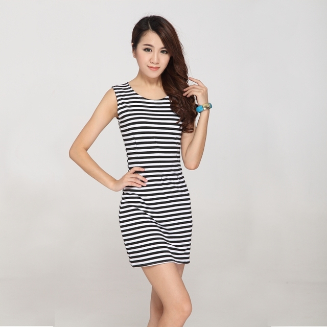 756aab7b6ee Bodycon dress Sexy cotton short pencil dress Black and white pink and white  striped dress GF2234