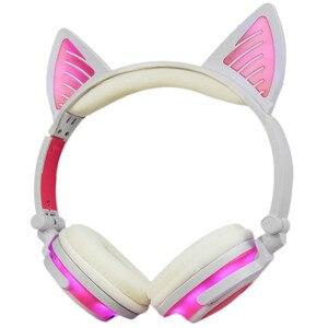 Image 5 - LIMSON 3.5 มม.ไร้สาย Bluetooth หูฟังน่ารักชุดหูฟังเรืองแสงพับแมวหู Headband ของขวัญเด็กหญิง