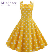 Retro Polka Dot Dress 2019 Hepburn Vintage 50s 60s Pin Up Rockabilly Yellow Dresses Robe Plus Size Elegant Women Midi Dress sexy halter party dress 2019 retro polka dot hepburn vintage 50s 60s pin up rockabilly dresses robe plus size elegant midi dress