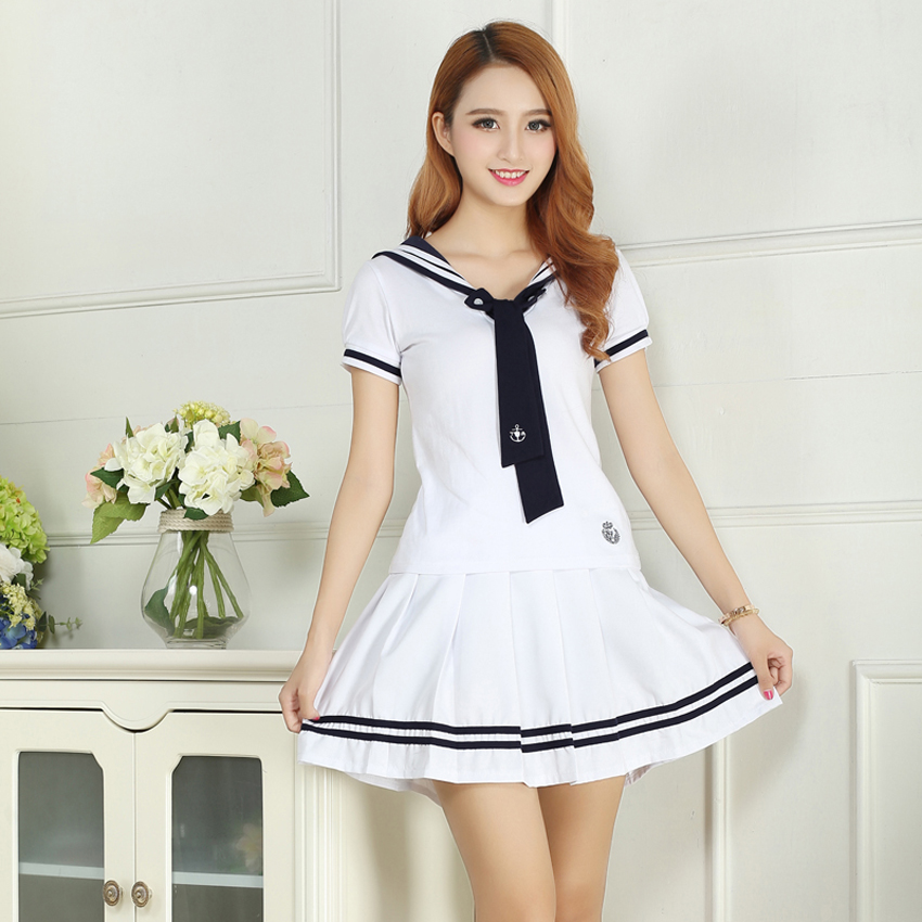 School Uniforms Sailor Uniforms Short-Sleeved T-shirt +Skirt Piece Fitted Sexy Girls Plus Size Japanese Cosplay Anime Wear