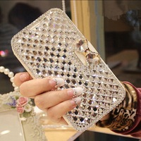 2017 New Girl Woman Lady Style Crystal 3D Diamond Flip Leather Phone Cover Case For Samsung