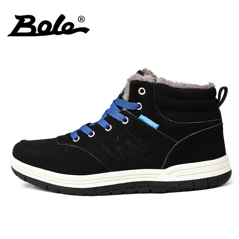 BOLE Winter Warm Men Casual Shoes Size 39-45 Plus Cotton Keep Warm Men High-top Casual Shoes Lace Up Non-slip Snow Shoes
