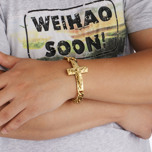 Mens Chain Bracelet Crucifix Jesus Cross Link Chain Gold Color Stainless Steel Religious Jewelry High Quality Gift for Men SL004