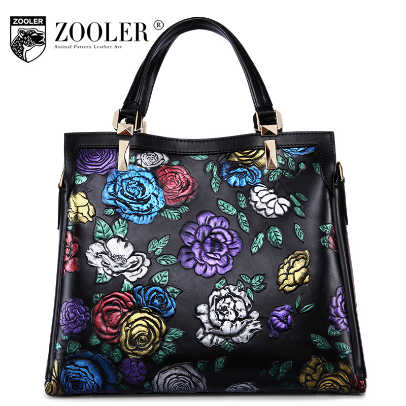 Quality &luxury genuine leather bag woman handbags brands stylish embossing woman shoulder bag ZOOLER embossed cowhide bag#2951
