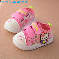 KKABBYII Spring Baby Girls Canvas Shoes Children Cartoon Hello Kitty Shoes Toddlers Comfortable Flats Girls Soft