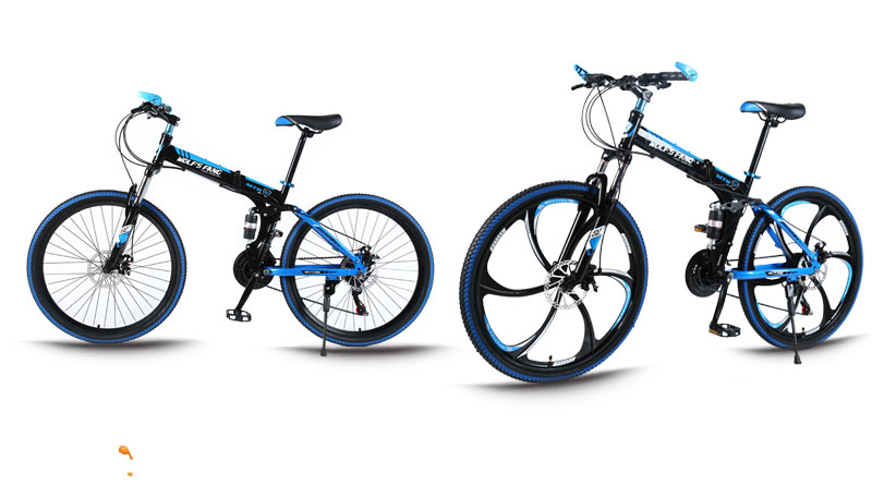 """wolf's fang Mountain bike 21speed 26"""" inch folding bike road bike unisex full shockproof frame bicycle front and rear mechanic"""