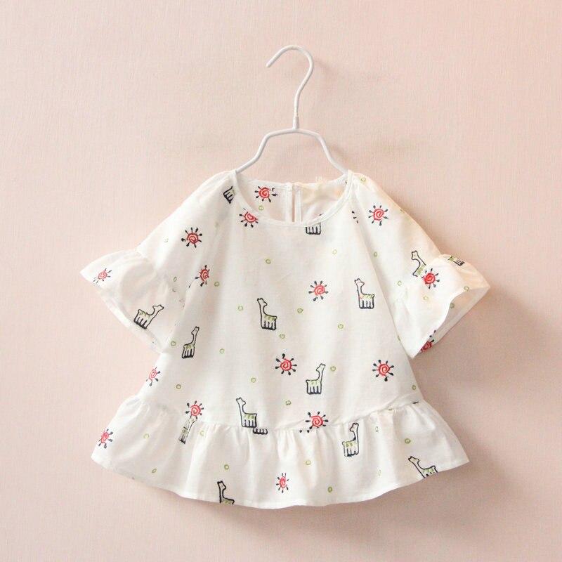 Summer Style Kids Girl Clothes Shirt New Cartoon Giraffe Embroidered Girl Kids Clothes shirt Summer Toddler Princess Top Shirt