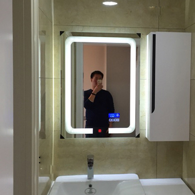 Smart LED Toilet Bathroom Mirror Anti fog Touch Screen Wall Mirror Makeup 700*900mm Rectangle Vanity MirrorsWith Bluetooth Music