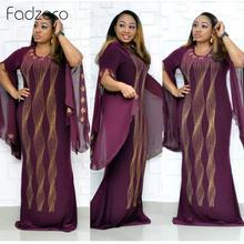 Fadzeco African Dress for Women Dashiki Hot Drilling African Clothes Bazin Riche Sexy Slim Ruffle Sleeve Robe Evening Long Dress