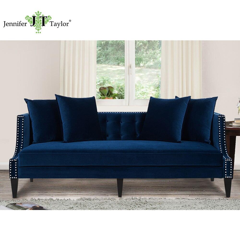 Jennifer taylor caroline navy blue sofa 82 w x 35 1 2 d x for Navy blue sofa set