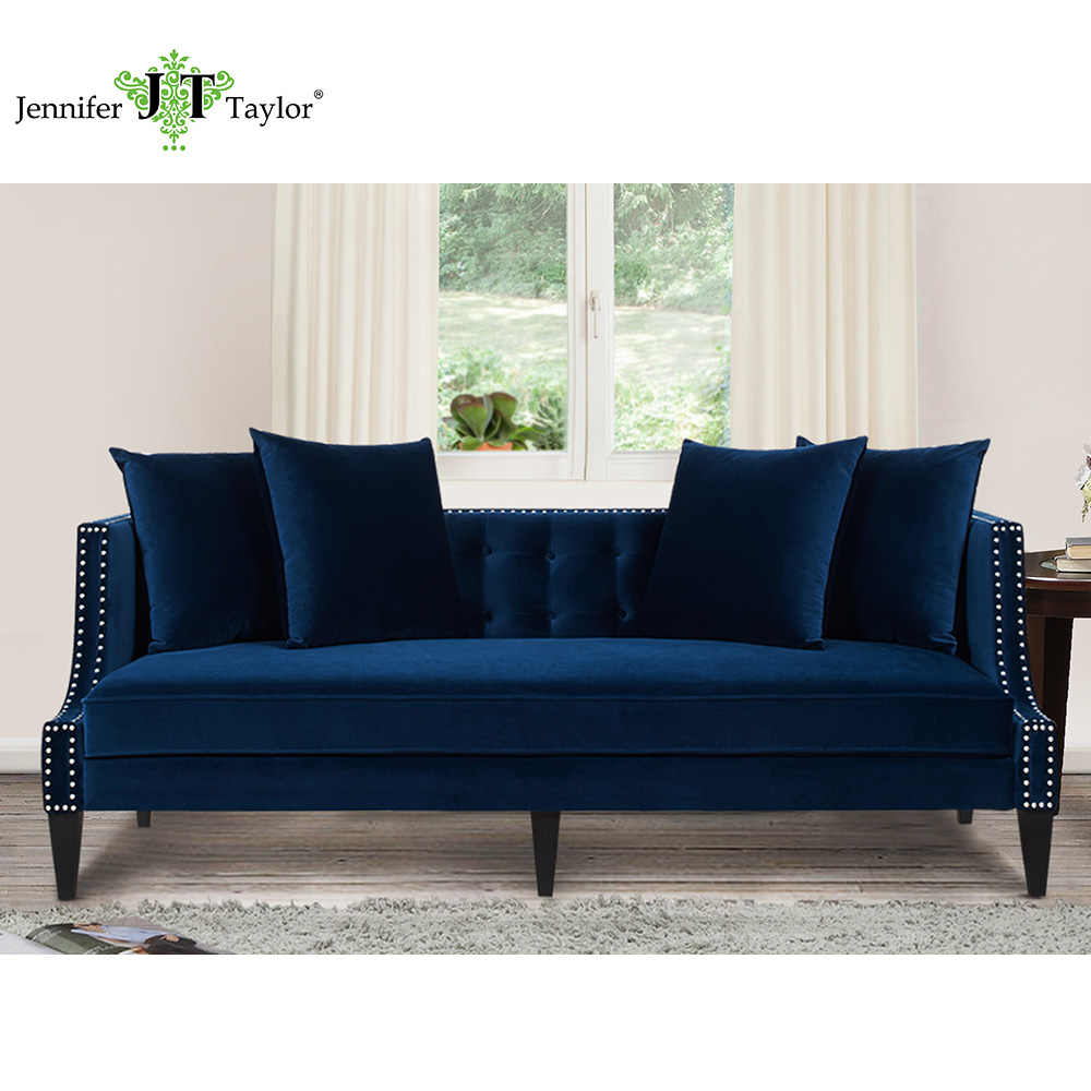Jennifer Taylor, Modern Tufted Caroline Navy Blue Sofa, American Living Room Sofa, 82W X 35 1/2D X 30 1/2H 63013 jennifer lopez savors every moment as she bids american idol farewell in toerless pumps misto elegante signore vestito scarpe