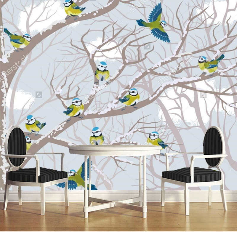ahbanya ru informatsiya o sajte poseshhaemost i tits Custom children's wallpaper,Blue tits perched on the branches,cartoon murals for the living room children's room wall wallpaper