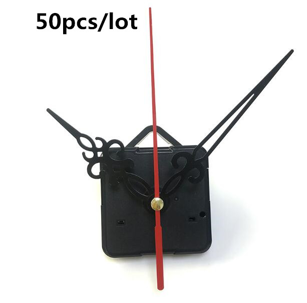 50pcs lot wholesale DIY Quartz Clock Mechanism Parts Classic Clock Hanging Movement with hook Gorgeous hollow hands Inexpensive in Clock Parts Accessories from Home Garden