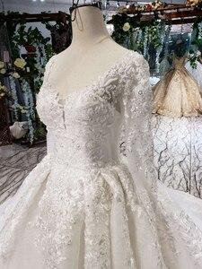 Image 5 - HTL187G פשוט חתונה שמלות ארוך שרוול בעבודת יד פרחי אפליקציות גדול o צוואר שמלת כלה 2020 אופנה חדשה vestido דה noiva
