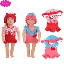 18 inch Girl dolls Clothes cute polka dot swimwear + cap bikini American newborn jumpsuits Baby toys fit 43 cm baby c770