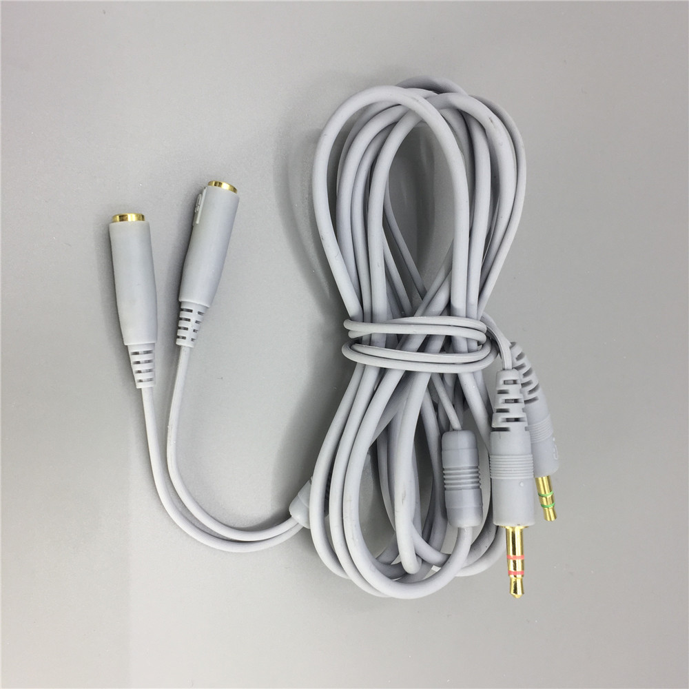 Extension Cable headset extend cord for steelseries siberia v2 gaming headphone length 2m with 3.5 mm headphone splitter