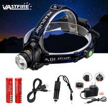 VASTFIRE 6000Lm XM-L T6 LED Headlamp Head Light Zoomable Flashlight Torch  Lanterna with batteries charger Camp Hunt Fish