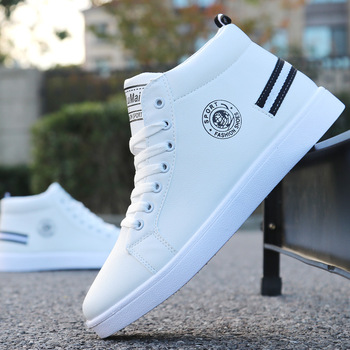 2019 New White Men High-top Shoes Men Shoes Casual Fashion Sneakers Waterproof Leather Boots Men Lace-up Ankle Boots