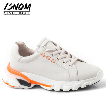 ISNOM Cow Leather Flat Women Round Toe Footwear Lace Up Shoes Female Sneakers Platform Leather Fashion Casual Shoes Woman Summer