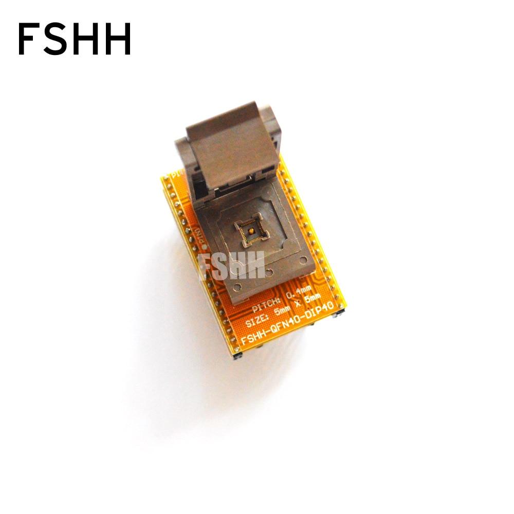 FSHH QFN40 To DIP40 Programmer Adapter Wson40 Dfn40 Mlf40 Test Socket Pitch=0.4mm Size=5x5mm