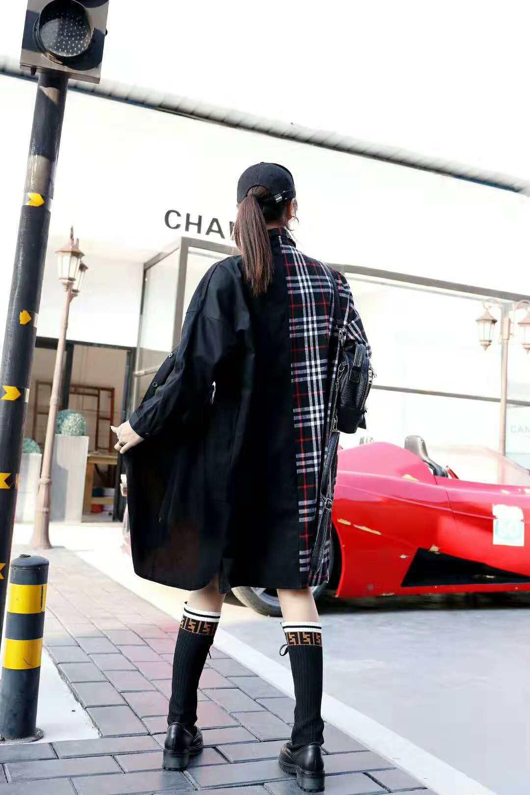 Manteau 2018 À Femelle Femmes rouge Marque Mm Couleur De Graisse Long Carreaux Noir Personnalité Automne Marée L'europe Correspondant Chemise Taille Nouvelle Grande 80PNkXOnw
