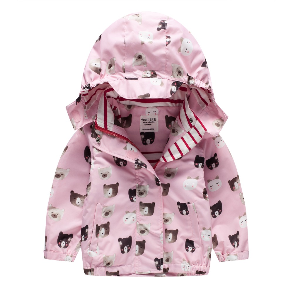TYY-07 Autumn Winter Fashion Bear pink Cartoon Coat Hoodie Child Jacket Girl Tops Windbreaker cute Print Coat Summer Thin Jacket letter print raglan hoodie