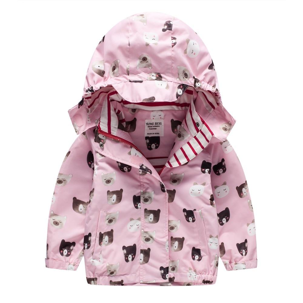 TYY-07 Autumn Winter Fashion Bear pink Cartoon Coat Hoodie Child Jacket Girl Tops Windbreaker cute Print Coat Summer Thin Jacket planet print marled hoodie
