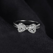 Cubic Zirconia Bow Knot Sterling Silver Rings for Women