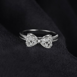 Image 2 - JewelryPalace Bow knot Anniversary Cubic Zirconia Rings 925 Sterling Silver Rings for Women Silver 925 Jewelry Fine Jewelry