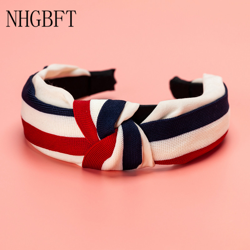 NHGBFT White Red Stripe Knotted Headband Hairband For Women Girl Bow Hair Hoop Hair Headwear Dropshipping